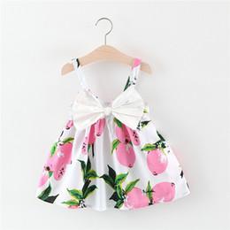 Bretelles citron filles avec grand arc été enfants Boutique Vêtements coréen 1-4 t petites filles coton jarretelles robes offre spéciale ? partir de fabricateur