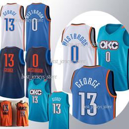 sportbekleidungsnähte Rabatt Top MEN 2019 13 George 0 Westbrook Basketball Trikots 18 / New 100% genäht überlegene Qualität Heißer Verkauf Jersey Sportswear