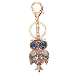 europäische edelsteine Rabatt Eule Schlüsselanhänger Rosa Frauen Tasche Schlüsselanhänger Mode Diamant-Intarsien Edelsteine Schlüssel Schnalle Europäische Und Amerikanische Mode