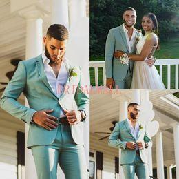 Vestito di affari verde di mens online-2019 Verde menta Mens Abiti One Button Groomsmen Smoking Smoking Risvolti Risvolto Groom Suit economici Prom Business Casual Blazer (Jacket + Pants)