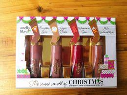 Рождественские угощения онлайн-2018 рождественский макияж помады сладкий запах рождественских угощений сжиженной помады набор расплавленный матовый блеск для губ 4 цветов набор подарок