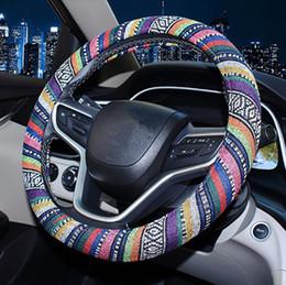 Velhas rodas de direção do carro on-line-Volante novo estilo nacional de linho de idade carro de linho tampa da roda personalidade tendência carro lidar com