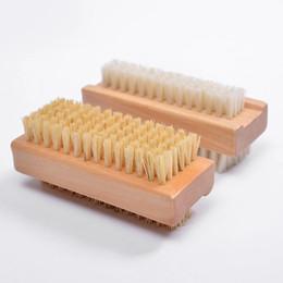 Pies de uñas online-Cepillo de cerdas de jabalí natural Cepillo de uñas de madera o cepillo para pies Limpiador de masaje corporal Envío gratis