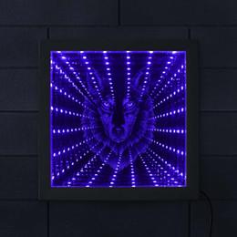 Lámparas de lobos online-Wolf Head Infinity Mirror Wolf Retrato LED Iluminado Marco de imagen Iluminación de la vida silvestre Decoración Animado Lámpara de túnel de luz de neón