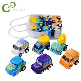 mini counting machine Promo Codes - children 6 pcs lot Pull Back Toys Children Racing Car Baby Learning & Education Toys Cartoon Mini Classic Model Cars Gifts