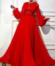 Mangas de ursinho de renda vermelha on-line-Vestido de noite Yousef aljasmi Labourjoisie Zuhair murad vestido de baile Jewel manga comprida Red Chifon Lace Mangas Puffed Vestido Longo James_paul