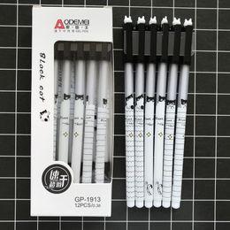 plumas de tinta de gato Rebajas 3 unids / lote Kawaii Black Cat Gel Pen Rollerball Pen Papelería para estudiantes School Office Supply 0.38mm Black Ink