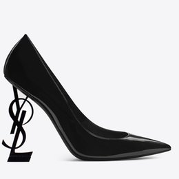 zapatos de la boda de la plataforma de champán Rebajas Diseñador de la marca 2018 Señoras zapatos de tacón alto Cartas de marca sexy Zapatos de tacón Bombas de moda de cuero genuino Nuevo calzado de primavera Calzado