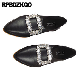 china de diamantes negros Rebajas Diamond Flats Zapatos baratos China Mujeres Cristalino del dedo del pie puntiagudo Rhinestone Slip On Fashion Beautiful amarillo cómodo negro Suede 2018