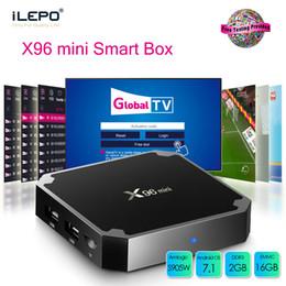 Mini h jogador on-line-X96 mini caixa da tevê de Android 7.1 do núcleo do quadrilátero da caixa S905W da tevê de Android da polegada 16GB 16GB Wifi H.265 Media Player