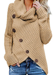 livre senhoras tricô padrões Desconto Wipalo Cinco Fivela Cor Sólida Camisola Das Mulheres Tops de Manga Longa de Gola Alta Botões Pulôveres Mulheres Camisolas Puxar Femme