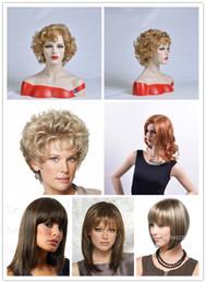 Flechas curtas longas cabelos encaracolados on-line-Longa peruca de cabelo reto com estrondo cabelo loiro encaracolado curto sintético sem tampa moda peruca rápida frete grátis