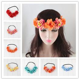 tulipas artificiais laranja Desconto Rose Camélia Cinto de Cabelo Elastic Hair Belt Noiva Grinalda Criativa Praia Headwear Hoop Cabelo Fabricantes Atacado