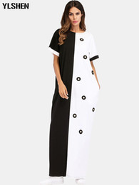9570758c69cc Vestido africano Do Vintage Bolinhas Branco Preto Impresso Retro Bodycon Mulheres  Verão de Manga Curta Plus Size Longo Vestido Maxi Muçulmano mais tamanho ...