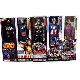 Heiße spielzeug kapitän amerika rächer online-Hot The Avengers PVC Actionfiguren Marvel Heros 30 cm Iron Man Spiderman Captain America Ultron Wolverine Figur Spielzeug DHL geben frei