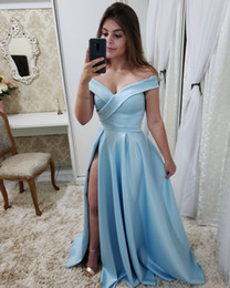 long silk empire prom dress Promo Codes - Simple Elegant Light Sky Blue Cheap Long Prom Dresses Off Shoulders Ruched High Split Evening Party Gowns