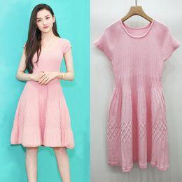 09d8d5394cb0 short knit dresses summer 2019 - Pink Slim Thin Celebrity Knitted Stripe  Temperament Bottom Dress Puffy