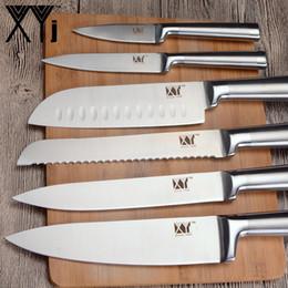 Juegos de cocina de acero inoxidable online-3.5 5 7 8 pulgadas Juego de cuchillos de cocina 7cr17 Cuchillos de estructura de acero inoxidable Fruit Utility Santoku Chef Rebanador de pan Cuchillo de cocina
