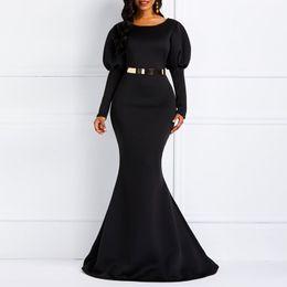 Plain maxi abiti neri online-Maxi abiti da donna Sexy Blue Party Mermaid Bodycon Lantern Sleeve Plain Black Female Fashion Elegante abito lungo vintage
