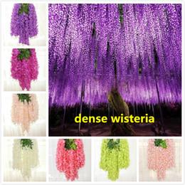 decorações para festa de jardim Desconto 110 centímetros densa flor Wisteria flor de seda artificial videira elegante rattan Videira de glicínia de jardim de casamento festas em casa decoração