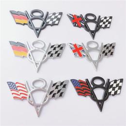royaume-uni voitures Promotion 10 PCS 3D Métal V8 Emblème Allemagne Royaume-Uni ROYAUME-UNI USA Drapeaux Nationaux Américain Insigne De Voiture Autocollants 10.5x6.5x0.5cm