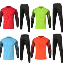 Pantalones de jersey para niños online-jersey de fútbol Portero niños manga larga portero Personalizar número nombre de calidad uniformes de fútbol camiseta de fútbol de los pantalones chico GK
