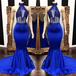 2019 apliques de cuentas sin espalda sirena Sexy Royal Blue Prom Dresses 2019 Keyhole cuello apliques Beads largo Backless en cascada volantes sirena vestido de noche vestidos de fiesta para las mujeres rebajas apliques de cuentas sin espalda sirena