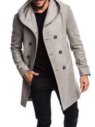abrigo de doble botonadura con capucha para hombre Rebajas Moda Hombres ZOGAA Gabardina larga chaqueta 2019 de los hombres de doble botonadura abrigo con capucha Primavera Otoño abrigos y chaquetas para los hombres