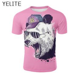 Pandabildhemd online-YELITE 2019 panda T-shirt Top Männer T-shirt Neues Design Hohe qualität spaß 3D cartoon druck 3d Cool Sleeve Fitness T-shirt Tops Tees