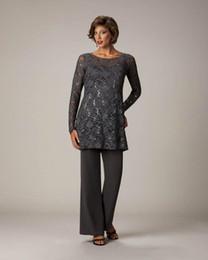 Sıcak Satış Dantel Pantolon Anne Gelin Jewel Boyun Çizgisi Için Payetli Pullu Abiye giyim Kollu Düğün Anneler Örgün Elbise nereden