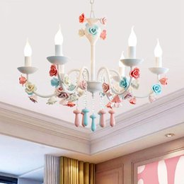 Pink or white rustic crystal beads chandelier lantern bedroom child real princess Tiffany Pendants Home Lighting Indoor Lamp