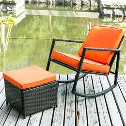 SONYI Patio Wicker Rocking Armed im Freien Garten-Lounge Ottoman Moderne  Allwetter converstation Außengartenmöbel-Sets Kissen orange
