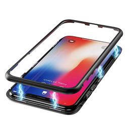 2019 manijas de los casos de iphone Caja magnética de metal para iPhone Xr Xs Max X 8 Plus con cobertura completa Marco de aleación de aluminio con cubierta de vidrio templado