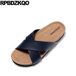 2019 sandali di sughero marrone taglia 45 pantofole 2019 scivoli da spiaggia blu sughero design piatto grande moda marrone casual uomo sandali scarpe estive in pelle outdoor 46 sandali di sughero marrone economici