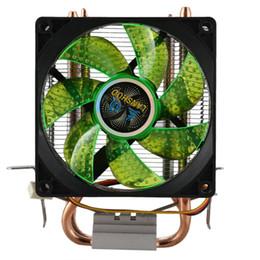 Hitze rohr kupfer online-Lanshuo Pure Copper 2 Heat Pipe für 1366 1155 775 Intel / Amd Multi-Plattform-CPU-Kühler 3-Draht mit Light One-Lüftern