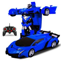 2019 modello freddo ragazzo Commercio all'ingrosso RC Auto Robot di trasformazione Modelli di auto sportive Robot Giocattoli Deformazione a freddo Auto Giocattoli Regali per ragazzi modello freddo ragazzo economici
