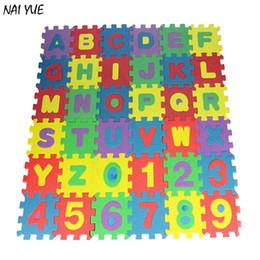 NAI YUE Alfombra 36 unids / set Niños Juguete de Desarrollo Educativo Mini Alfabeto Numeral Estera de Espuma desde fabricantes