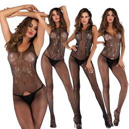 Jumpsuit sexy del fishnet online-5 donne di stili Sexy Strass Fishnet Crotchless giarrettiere corpo siamesi Calze Calze bondage calze delle tute della biancheria Hose Giarrettiera UW4