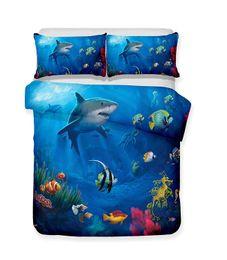 Patrón de edredón de lino online-Feroz tiburón Serie Tiburón en un colorido mundo submarino Modelo 3D Juego de cama realista Funda nórdica de impresión Juego de funda Doona Juego de sábanas Inicio