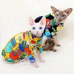 Tipos de materiais de tecido on-line-Gato t-curto casaco legal esfinge vestuário colorido vestir tecido de algodão material natural saudável confortável de alta qualidade três tipos modernos