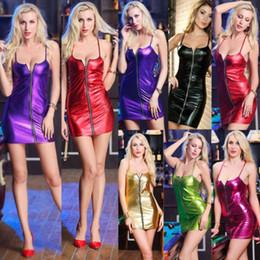 vestido corto de cuero sexy más tamaño Rebajas Nueva correa sexy Vestido de cuero brillante Mujeres PU Cuero Cremallera frontal Noche Clubwear Fiesta Bodycon Mini vestido corto Tallas grandes S-4XL