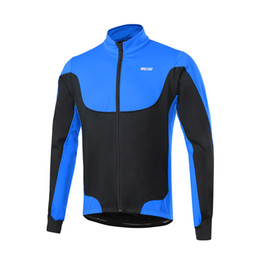 Abrigo largo térmico online-Arsuxeo Chaquetas de ciclismo para hombre Chaqueta de ciclismo de invierno forrada a prueba de viento, con forro de vellón de invierno, chaqueta de ciclismo de deporte al aire libre, camiseta de manga larga