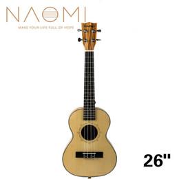 2019 26 polegadas ukulele NAOMI 26 Polegada Ukulele Abeto Sólido Topo Zebrawood Voltar Mogno Ukulele 4 Cordas Hawaii Guitar Tenor Ukulele NEW