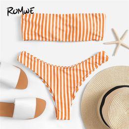 biquíni laranja bandeau Desconto Esporte Laranja Listrado Bandeau Fio Livre Biquíni Conjunto Com Cintura Alta Bottoms Mulheres 2019 Verão Sexy Acolchoado Praia Swimwear