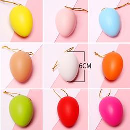 huevos de pascua de plastico Rebajas Huevos de Pascua DIY Niños de Pascua Pintura Huevo Juguete Con Cuerda Regalos De Plástico Colgando Artes Artes de Pascua Juguetes DIY Familia Divertidos Gadgets