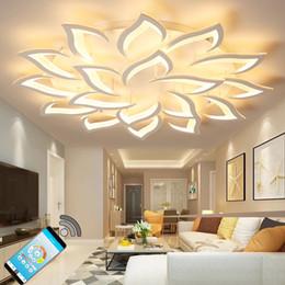 cucine di cottage bianche Sconti Lampadario moderno acrilico bianco del LED per le lampade della grande illuminazione del candeliere del soffitto della camera da letto LED Lustre del salone