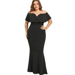 a99eec43e Gamiss mujeres mujeres vestido largo negro más el tamaño del volante fuera  del hombro vestido de sirena para la fiesta de noche de manga corta Vestidos  ...