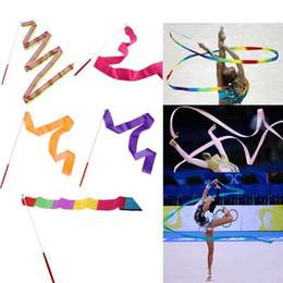 2019 4 m bambini bambini palestra danza nastro ginnastica ritmica ginnastica arte ginnastica balletto streamer twirling rod bambini giocattolo muilticolor da scegliere da