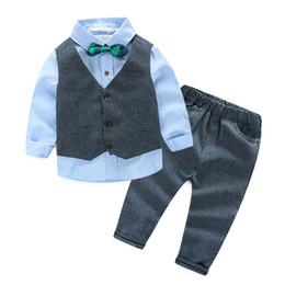 Ternos elegantes do menino on-line-4 pcs Crianças Set Suit Inverno Gentleman Denim terno para o menino formais caçoa a roupa de casamento elegante Boy Evening Roupa partido