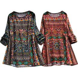 2019 frauen s hippie shirts Plus Size Frauen Boho Floral Langarm Bluse lose Tops Hippie Tunika T-Shirt rabatt frauen s hippie shirts